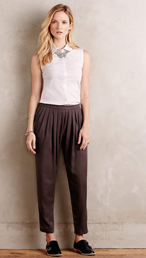 grayd-joggers-pants-white-top-blouse-black-shoe-brogues-bracelet-anthropologie-wear-style-fashion-spring-summer-blonde-bib-necklace-paperbag-lunch.jpg