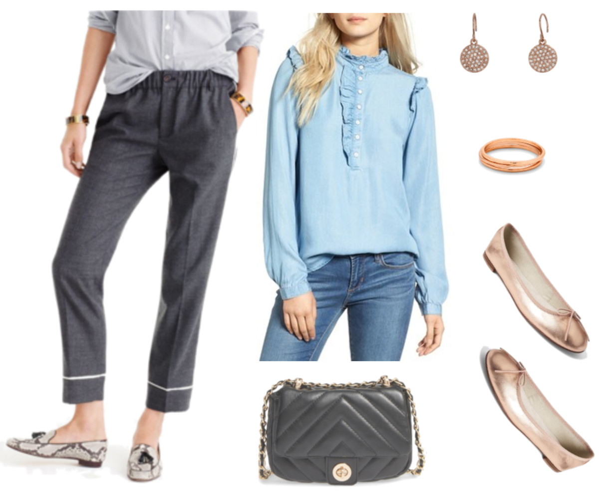 grayd-joggers-pants-blue-light-top-blouse-tan-shoe-flats-black-bag-earrings-howtowear-fashion-style-outfit-spring-summer-blonde-work.jpg