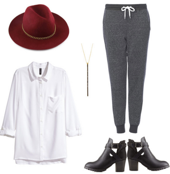 grayd-joggers-pants-white-collared-shirt-black-shoe-booties-howtowear-fashion-style-outfit-fall-winter-necklace-pend-sweats-hat-weekend.jpg