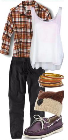 black-joggers-pants-white-top-tank-orange-plaid-shirt-purple-royal-shoe-flats-beanie-bracelet-wear-style-fashion-fall-winter-weekend.jpg