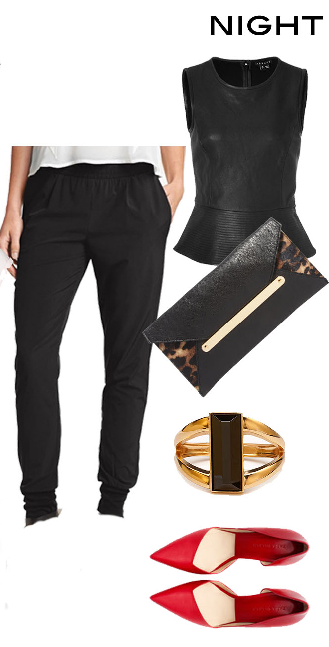black-joggers-pants-black-top-shell-red-shoe-puumps-black-bag-clutch-ring-leopard-wear-style-fashion-spring-summer-track-dinner.jpg