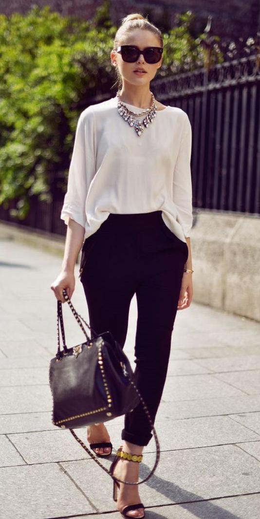 white-top-blouse-blonde-bun-sun-black-bag-bib-necklace-black-shoe-sandalh-black-joggers-pants-fall-winter-dinner.jpg