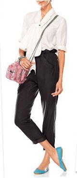 black-joggers-pants-white-top-blouse-pink-bag-blue-shoe-flats-spring-summer-harem-lunch.jpg