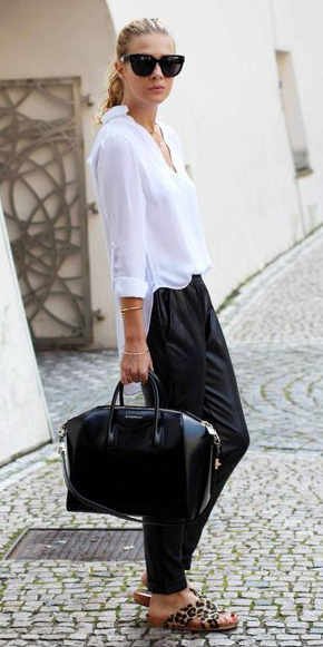 black-joggers-pants-white-collared-shirt-blonde-pony-sun-black-bag-tan-shoe-sandals-leopard-print-fall-winter-lunch.jpg