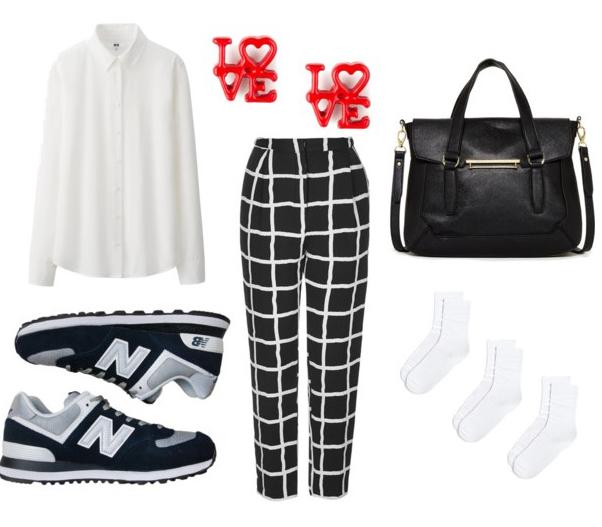 black-joggers-pants-print-white-top-blouse-black-shoe-sneakers-black-bag-red-earrings-windowpane-fall-winter-lunch.jpg