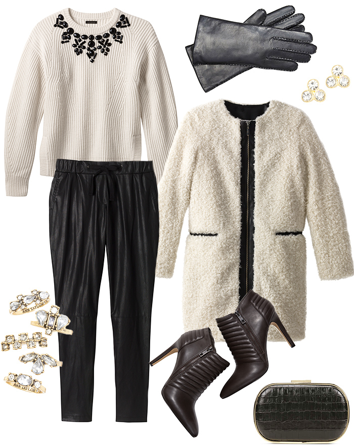 black-joggers-pants-white-sweater-white-jacket-coat-black-shoe-booties-gloves-studs-black-bag-clutch-fall-winter-holiday-christmas-outfits-dinner.jpg