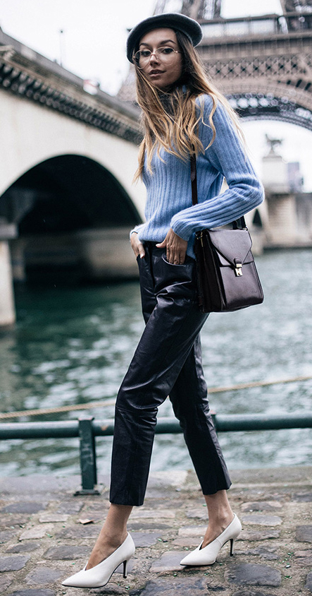 black-joggers-pants-blue-light-sweater-turtleneck-black-bag-beret-hat-france-white-shoe-pumps-howtowear-fashion-style-outfit-fall-winter-hairr-lunch.jpg