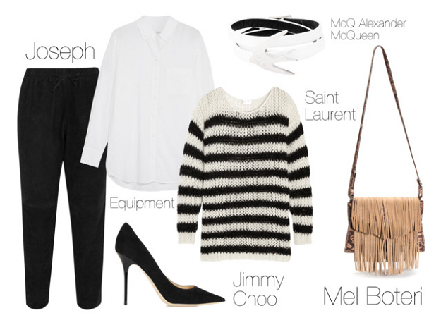 black-joggers-pants-white-collared-shirt-black-sweater-stripe-black-shoe-pumps-tan-bag-fringe-howtowear-fashion-style-outfit-fall-winter-lunch.jpg