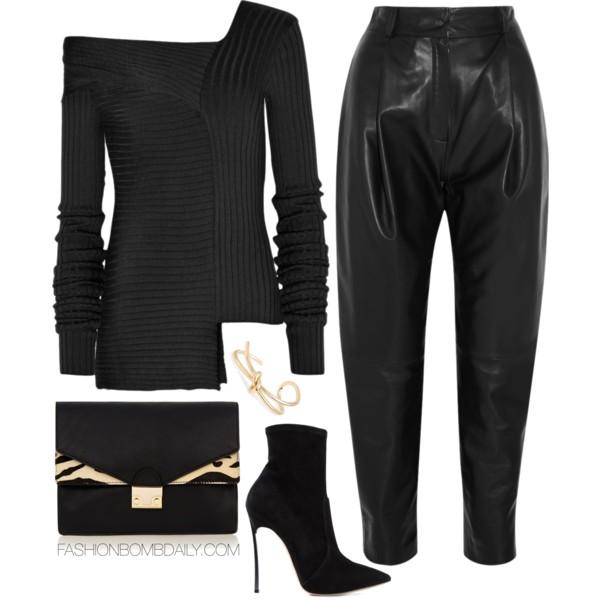 black-joggers-pants-black-sweater-offshoulder-black-shoe-booties-black-bag-bracelet-howtowear-fashion-style-outfit-spring-summer-dinner.jpg