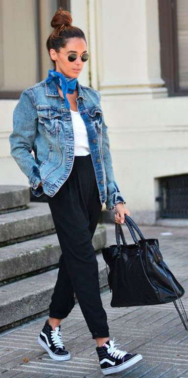 black-joggers-pants-blue-med-jacket-jean-black-bag-black-shoe-sneakers-sun-bun-blue-med-scarf-neck-bandana-fall-winter-hairr-weekend.jpg