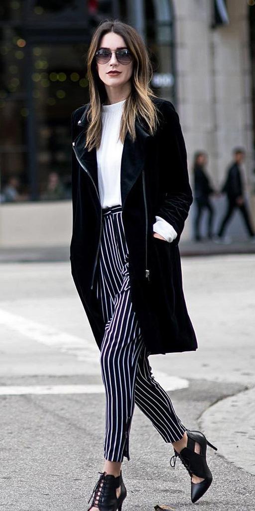 black-joggers-pants-vertical-stripe-sun-white-top-black-shoe-pumps-sun-black-jacket-coat-fall-winter-hairr-lunch.jpg