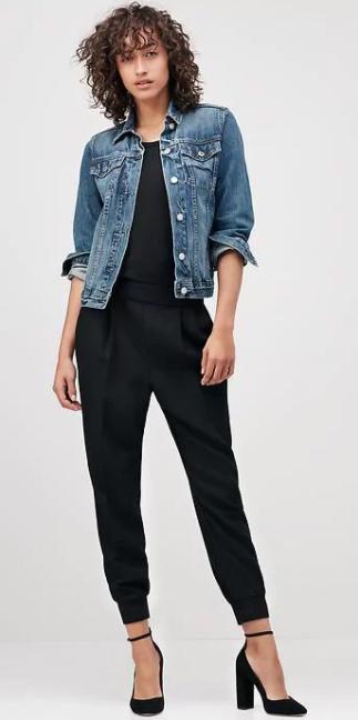 black-joggers-pants-black-tee-blue-med-jacket-jean-black-shoe-pumps-howtowear-fall-winter-brun-work.jpg