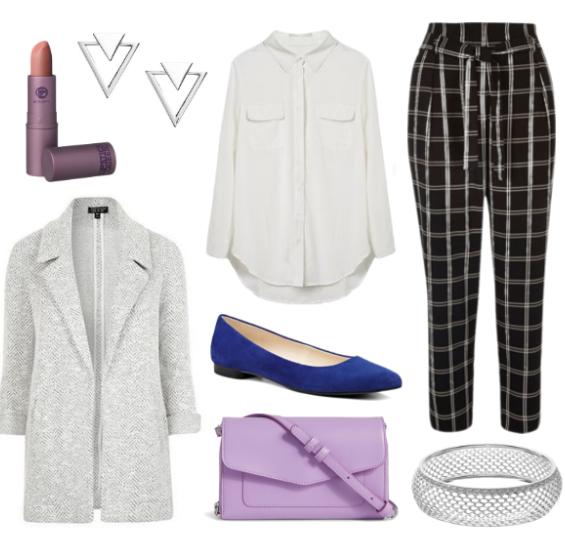 black-joggers-pants-zprint-white-collared-shirt-grayl-jacket-coat-blue-shoe-flats-purple-bag-crossbody-howtowear-fashion-style-outfit-fall-winter-windowpane-coatigan-bracelet-earrings-work.jpg