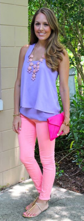 pink-light-skinny-jeans-purple-light-cami-necklace-tan-shoe-sandals-pink-bag-clutch-spring-summer-hairr-lunch.jpg