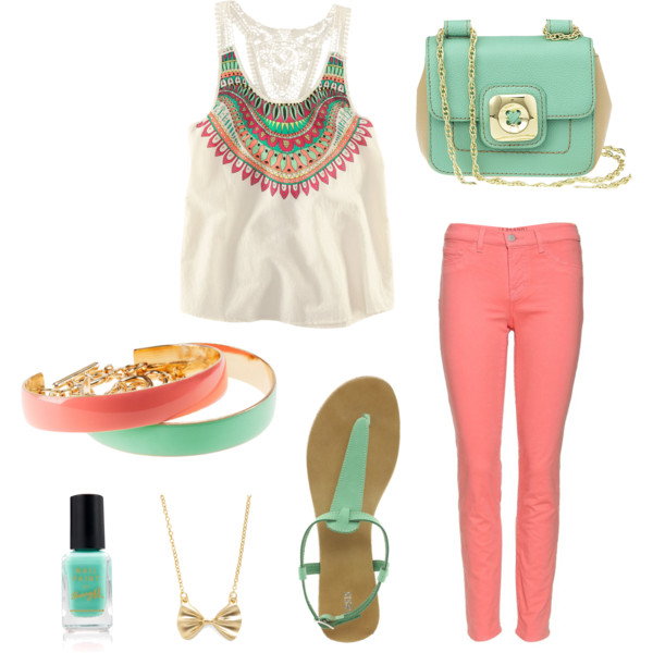r-pink-light-skinny-jeans-white-top-green-shoe-sandals-bracelet-necklace-nail-green-bag-howtowear-fashion-style-outfit-spring-summer-weekend.jpg