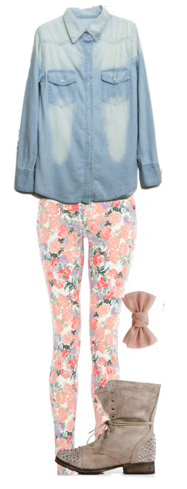 peach-skinny-jeans-tan-shoe-booties-blue-light-collared-shirt-floral-print-spring-summer-weekend.jpg