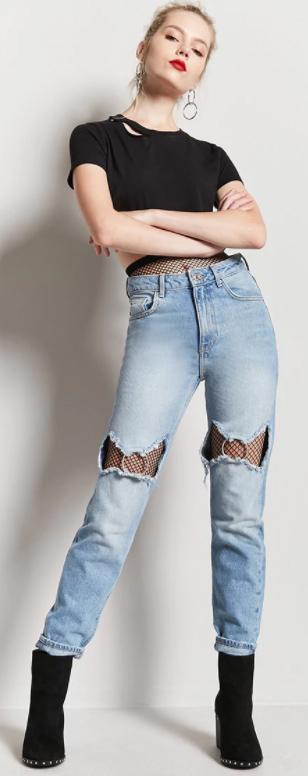 blue-light-skinny-jeans-layerovertightsfishnet-blackt-tee-earrings-bun-black-shoe-booties-howtowear-fall-winter-blonde-lunch.jpg