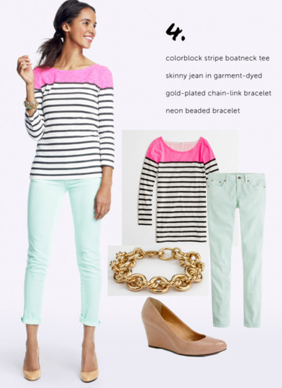 blue-light-skinny-jeans-r-pink-magenta-tee-stripe-tan-shoe-pumps-chain-bracelet-pony-jcrew-howtowear-fashion-style-outfit-brun-spring-summer-lunch.jpg