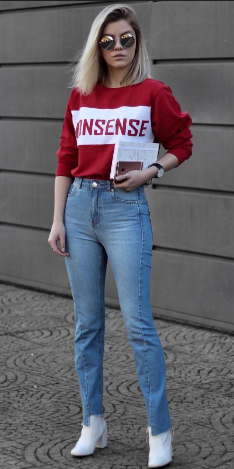 blue-light-skinny-jeans-white-shoe-booties-red-sweater-sweatshirt-blonde-sun-lob-fall-winter-weekend.jpg