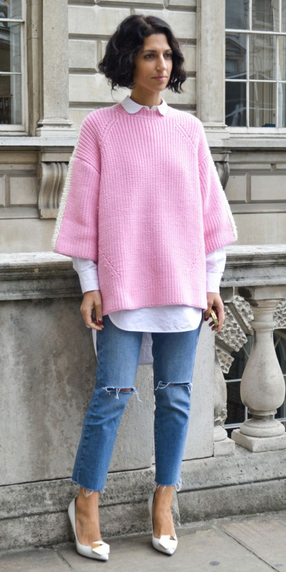 blue-med-skinny-jeans-white-shoe-pumps-white-collared-shirt-pink-light-sweater-layer-fall-winter-brun-lunch.jpg