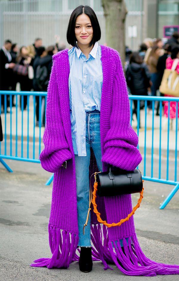 blue-light-skinny-jeans-purple-royal-cardiganl-black-bag-brun-bob-black-shoe-booties-blue-light-collared-shirt-fall-winter-lunch.jpg
