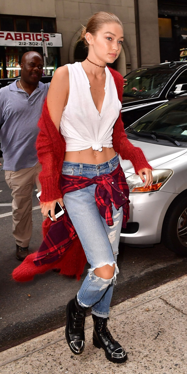 blue-light-skinny-jeans-red-plaid-shirt-red-cardiganl-white-tee-blonde-bun-choker-black-shoe-booties-fall-winter-weekend.jpg