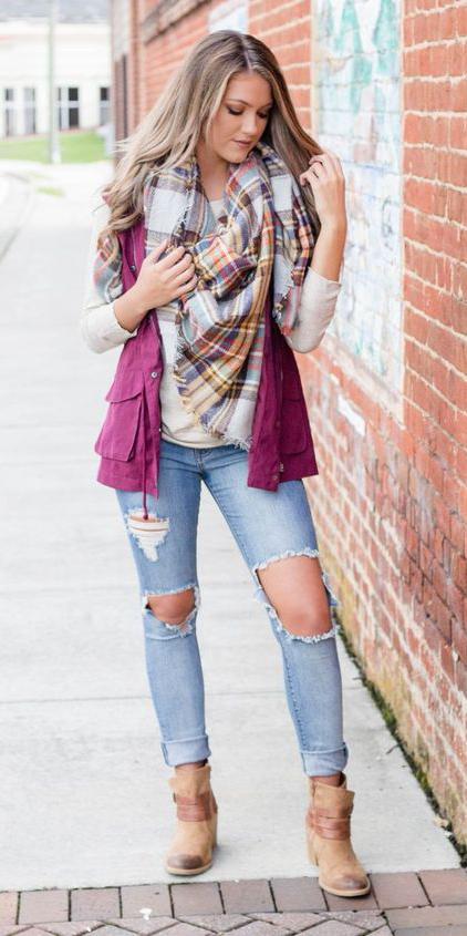 blue-light-skinny-jeans-blonde-plaid-yellow-scarf-tan-shoe-booties-burgundy-vest-utility-fall-winter-weekend.jpg