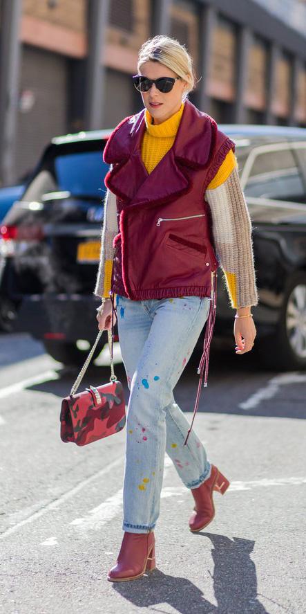blue-light-skinny-jeans-red-vest-moto-yellow-sweater-turtleneck-bun-sun-red-shoe-booties-red-bag-fall-winter-blonde-lunch.jpg