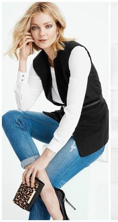 blue-light-skinny-jeans-white-top-blouse-black-vest-tailor-wide-belt-tan-bag-clutch-leopard-black-shoe-pumps-blonde-whitehouseblackmarket-howtowear-fashion-style-outfit-fall-winter-lunch.jpg