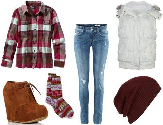 blue-light-skinny-jeans-red-plaid-shirt-white-vest-puffer-howtowear-fashion-style-outfit-fall-winter-beanie-fairisle-wedge-cognac-shoe-booties-socks-weekend.jpg