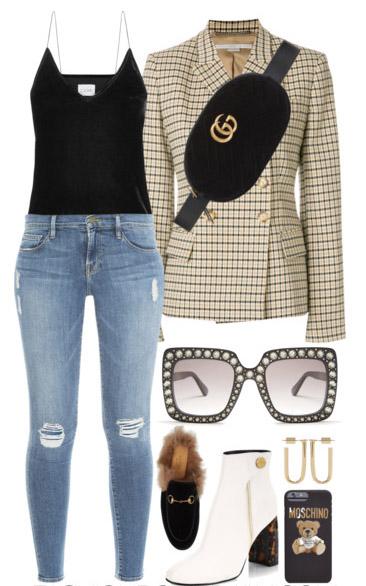 blue-light-skinny-jeans-black-cami-black-bag-fannypack-sun-white-shoe-booties-yellow-jacket-blazer-plaid-hoops-fall-winter-lunch.jpg