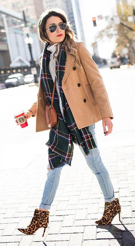 blue-light-skinny-jeans-green-dark-scarf-plaid-tan-jacket-coat-peacoat-white-sweater-turtleneck-hairr-cognac-bag-brown-shoe-booties-leopard-print-fall-winter-lunch.jpg