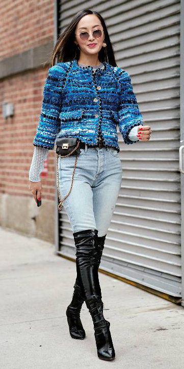 blue-light-skinny-jeans-black-bag-fannypack-blue-med-jacket-lady-brun-sun-black-shoe-boots-otk-tweed-fall-winter-lunch.jpg