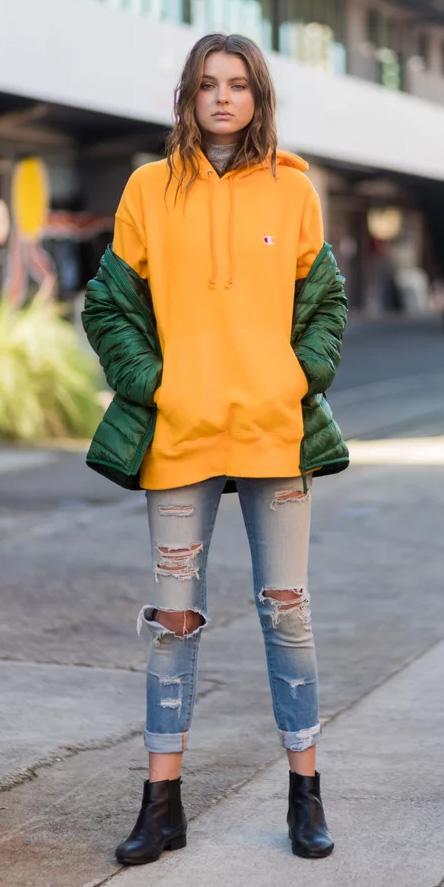 blue-light-skinny-jeans-yellow-sweater-sweatshirt-hoodie-hairr-green-olive-jacket-puffer-black-shoe-booties-fall-winter-weekend.jpg