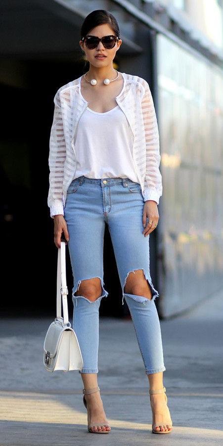 blue-light-skinny-jeans-white-top-tank-pearl-necklace-white-bag-tan-shoe-sandalh-hairr-sun-white-jacket-bomber-sheer-spring-summer-lunch.jpg