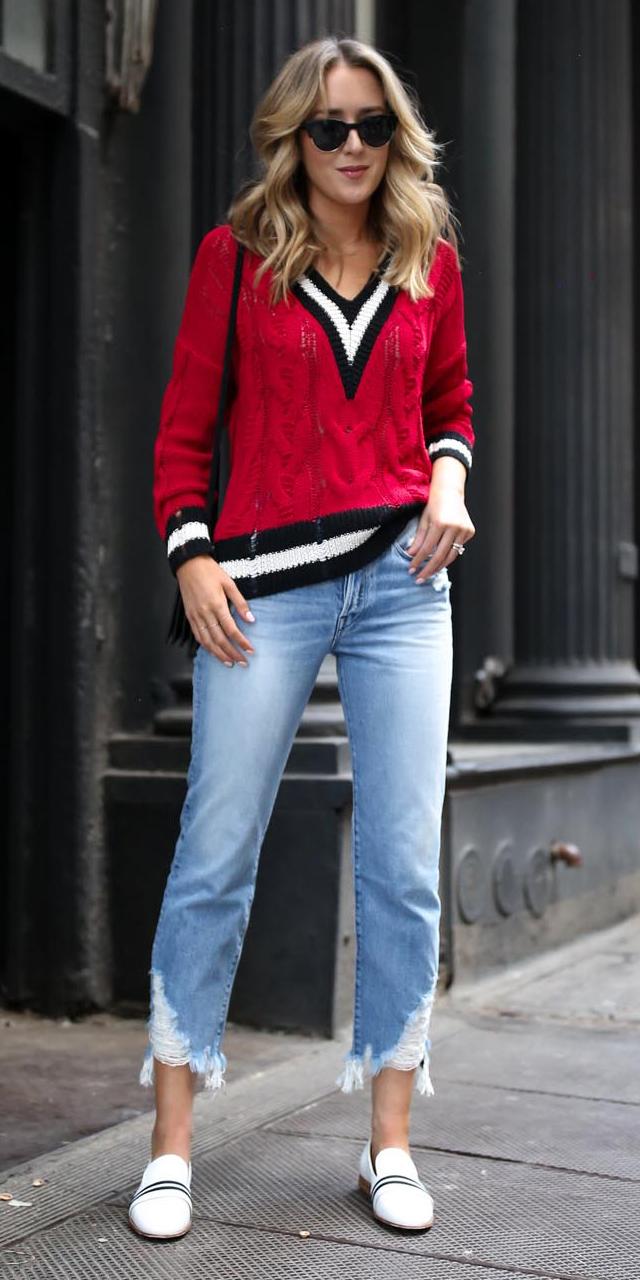 blue-light-crop-jeans-red-sweater-blonde-sun-white-shoe-loafers-varsity-spring-summer-weekend.jpg