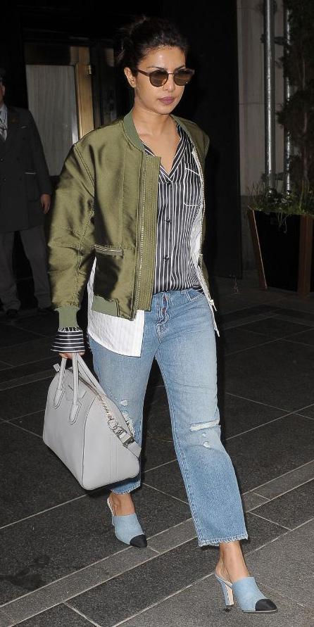 how-to-style-blue-light-crop-jeans-grayd-collared-shirt-pajamas-green-olive-jacket-bomber-gray-bag-blue-shoe-pumps-sun-brun-bun-fall-winter-fashion-priyankachopra-lunch.jpg