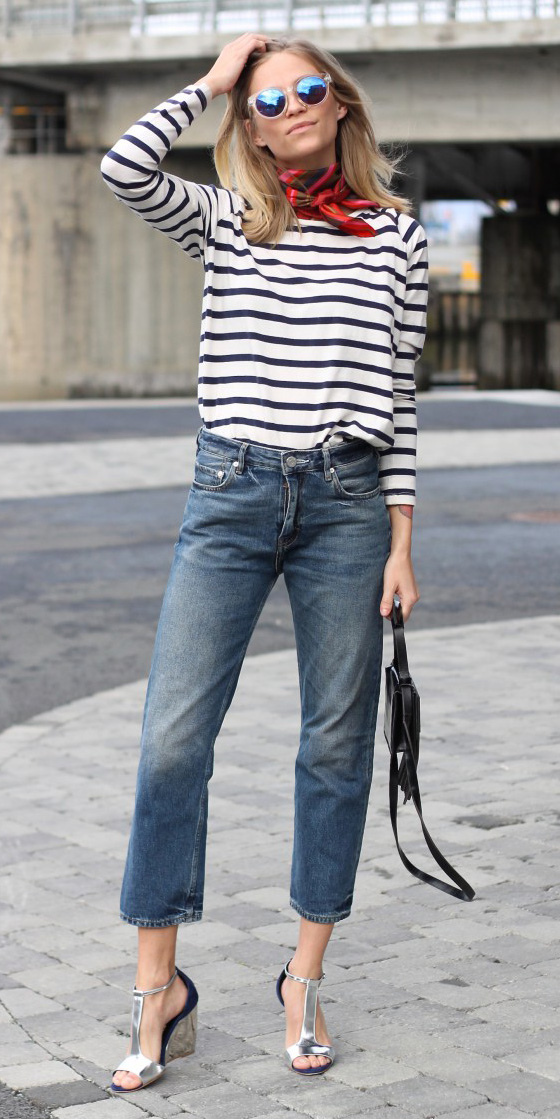 blue-med-crop-jeans-blue-navy-tee-stripe-red-scarf-neck-sun-gray-shoe-sandalw-black-bag-howtowear-fashion-style-outfit-spring-summer-blonde-lunch.jpg