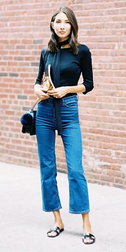 blue-med-crop-jeans-black-tee-skinny-scarf-black-shoe-sandals-black-bag-brunette-wear-fashion-style-spring-summer-slides.jpg