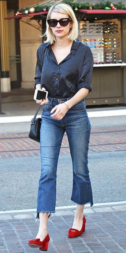 blue-med-crop-jeans-black-top-blouse-red-shoe-loafers-black-bag-sun-celebrity-emmaroberts-wear-fashion-style-spring-summer-blonde-dinner.jpg