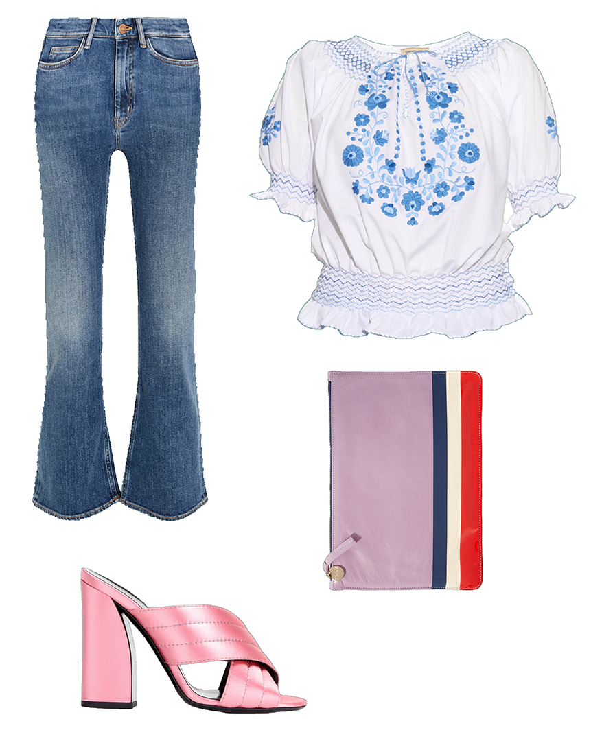 blue-med-crop-jeans-white-top-blouse-peasant-pink-shoe-sandalh-mules-pink-bag-clutch-howtowear-fashion-style-outfit-spring-summer-lunch.jpg
