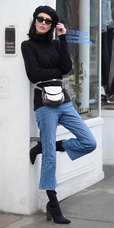 blue-med-crop-jeans-black-shoe-boots-gray-bag-fannypack-black-sweater-turtleneck-brun-lob-hat-beret-sun-fall-winter-lunch.jpeg