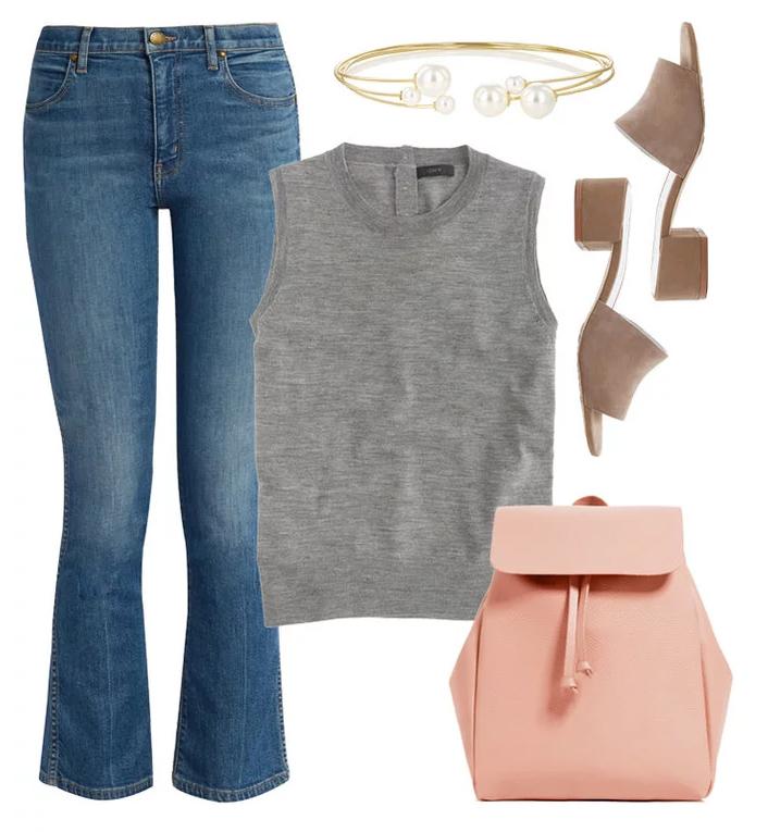 blue-med-crop-jeans-grayl-sweater-sleeveless-peach-bag-pack-tan-shoe-sandals-bracelet-spring-summer-lunch.jpg