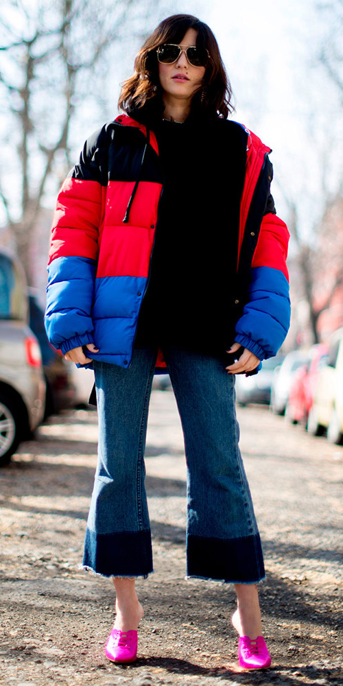 blue-med-crop-jeans-magenta-shoe-pumps-mules-colorblock-stripe-red-jacket-coat-puffer-fall-winter-brun-lunch.jpg
