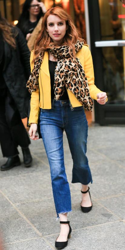 blue-med-crop-jeans-black-tee-yellow-jacket-moto-tan-scarf-leopard-black-shoe-flats-wear-fashion-style-fall-winter-emma-roberts-hairr-lunch.jpg