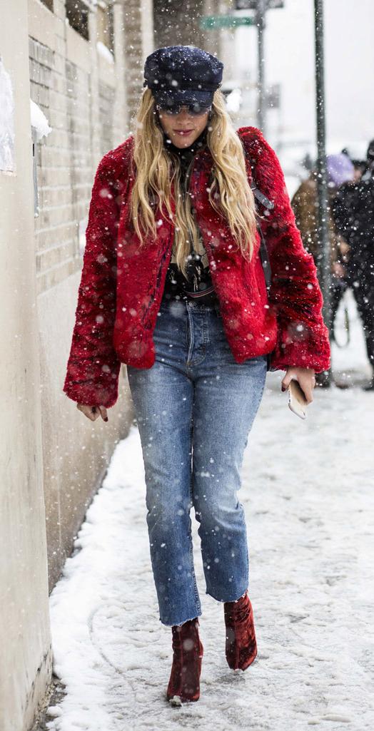 blue-med-crop-jeans-red-shoe-booties-newsboy-hat-sun-snow-red-jacket-coat-fur-fuzz-fall-winter-blonde-lunch.jpg