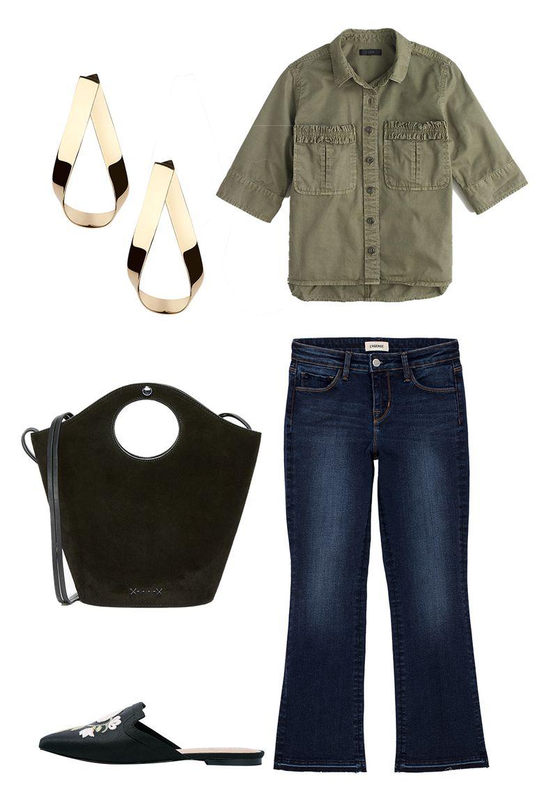 blue-navy-crop-jeans-green-olive-collared-shirt-black-bag-black-shoe-loafers-earrings-spring-summer-lunch.jpg