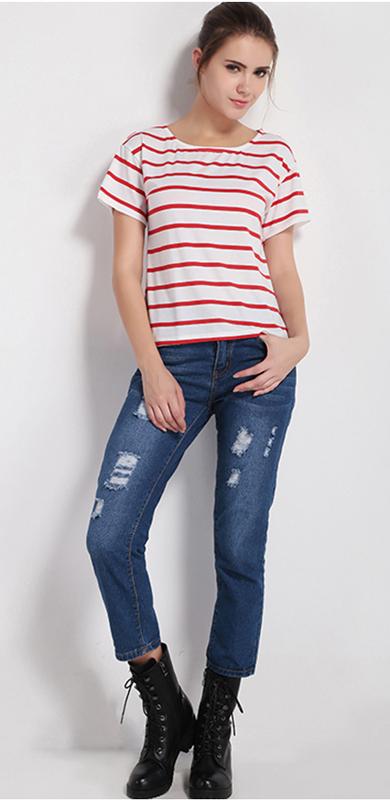 blue-navy-crop-jeans-red-tee-stripe-black-shoe-booties-bun-howtowear-fashion-style-outfit-fall-winter-redhair-weekend.jpg