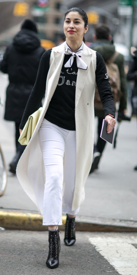 white-crop-jeans-black-sweater-white-scarf-neck-brun-pony-white-vest-tailor-black-shoe-booties-white-bag-clutch-fall-winter-lunch.jpg