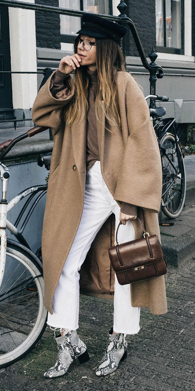 white-crop-jeans-tan-jacket-coat-hat-brown-bag-hairr-white-shoe-booties-snakeskin-fall-winter-weekend.jpg